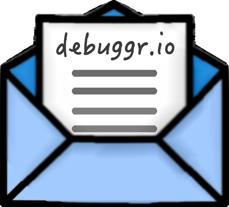 open envelope with a letter which it's title is debuggr.io